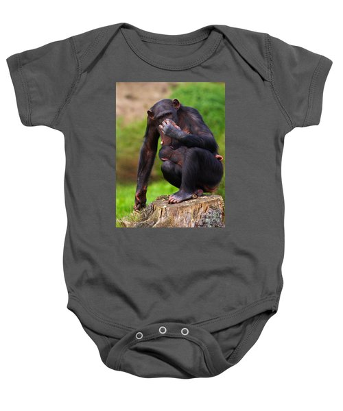 Chimp With A Baby On Her Belly  Baby Onesie