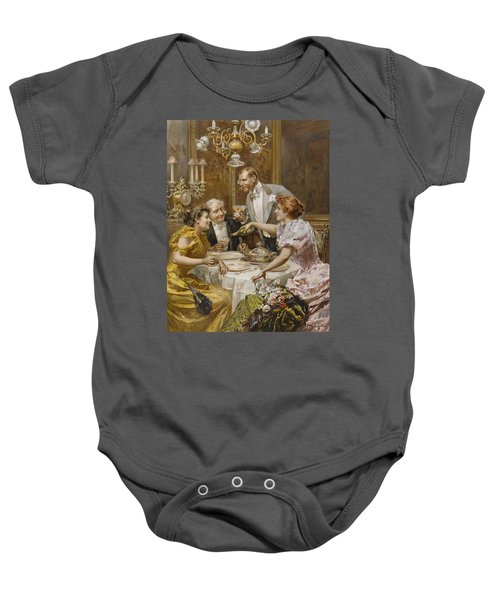 Christmas Eve Dinner In The Private Dining Room Of A Great Restaurant Baby Onesie