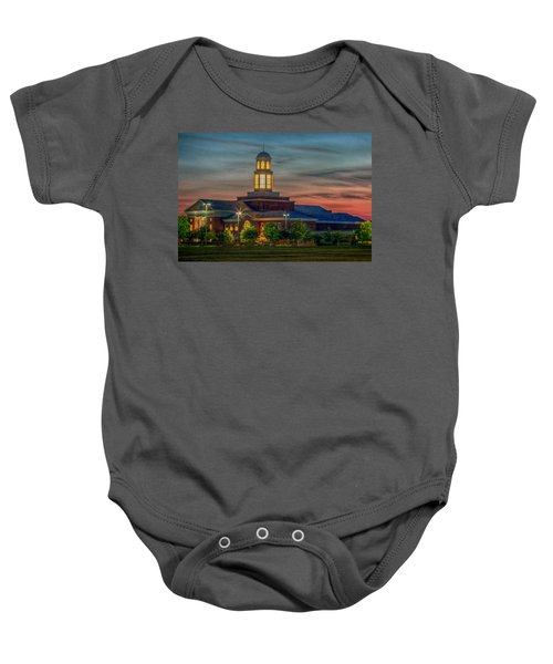 Christopher Newport University Trible Library At Sunset Baby Onesie