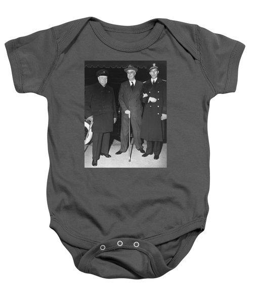 Churchill And Roosevelt Baby Onesie by Underwood Archives