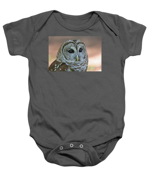 Closeup Of A Barred Owl  Baby Onesie