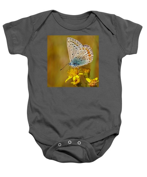 Closeup Of A Common Blue Butterfly Baby Onesie