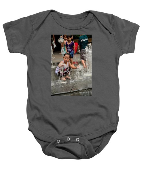 Clothed Children Play At Water Fountain Baby Onesie