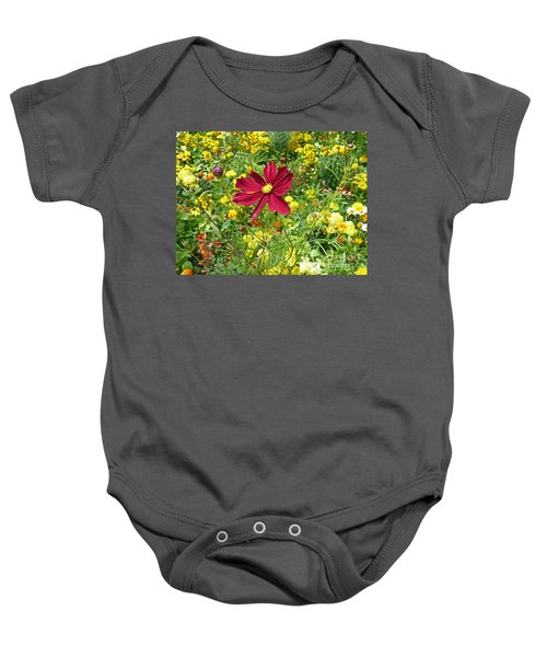 Colorful Flower Meadow With Great Red Blossom Baby Onesie