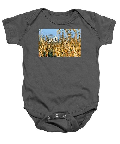 Corn Framed Barn Baby Onesie