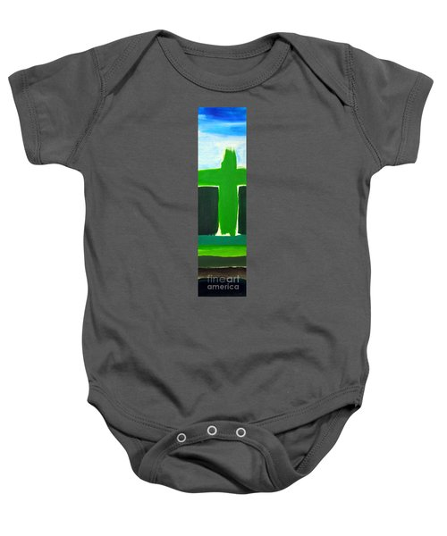 Green Cross On Hill Baby Onesie