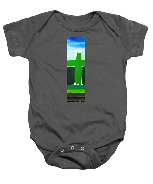 Green Cross On Hill Baby Onesie