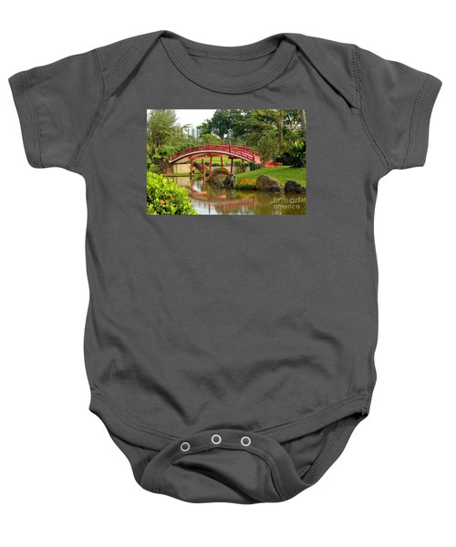 Curved Red Japanese Bridge And Stream Chinese Gardens Singapore Baby Onesie