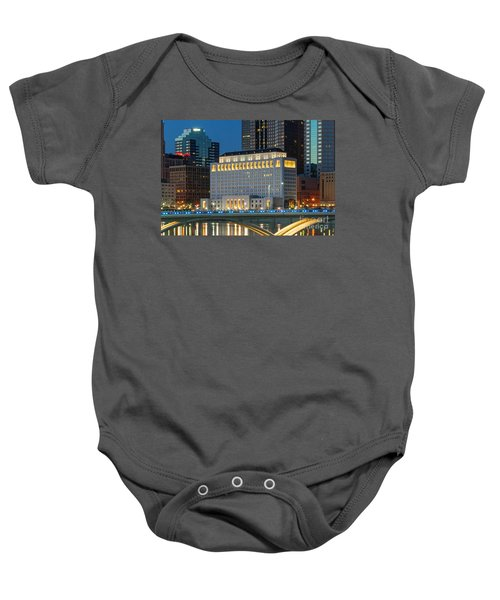 D2l496 Columbus Ohio Night Skyline  Baby Onesie