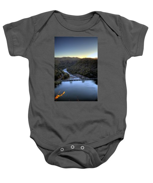 Baby Onesie featuring the photograph Dam Across The River by Jonny D