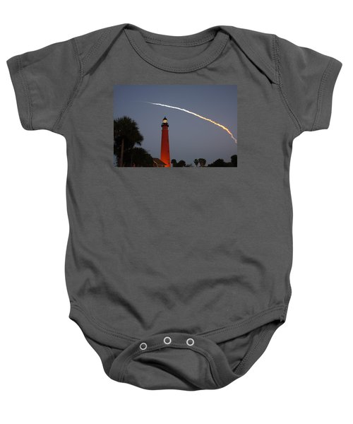 Discovery Booster Separation Over Ponce Inlet Lighthouse Baby Onesie