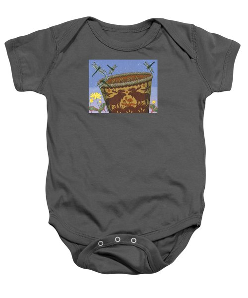Baby Onesie featuring the painting Dragonfly - Cohkanapises by Chholing Taha