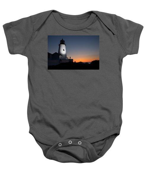 Dramatic Lighthouse Sunrise Baby Onesie