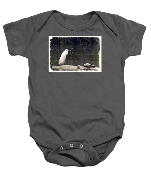 Egret And Turtles Baby Onesie