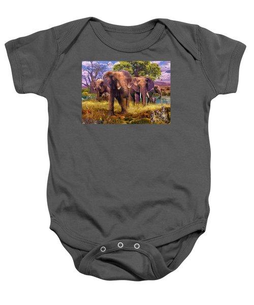 Elephants Baby Onesie by Jan Patrik Krasny