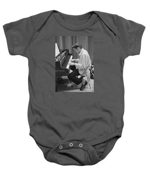 Elvis Presley On Piano While Waiting For A Show To Start 1956 Baby Onesie by The Harrington Collection