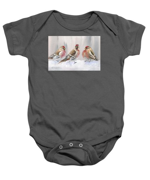 Snowy Birds - Eyeing The Feeder 2 Alaskan Redpolls In Winter Scene Baby Onesie by Karen Whitworth