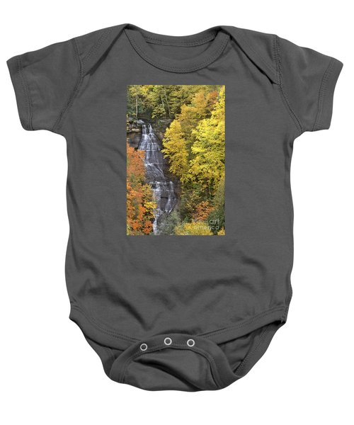 Fall Color Surrounds Chapel Falls On The Michigan Upper Peninsula Baby Onesie
