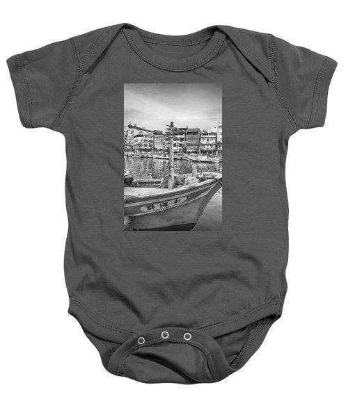 Fishing Boat B W Baby Onesie