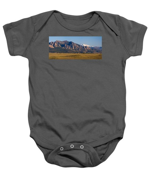 Flatirons And Snow Covered Longs Peak Panorama Baby Onesie