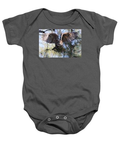 Flying Blind - Great Horned Owl Baby Onesie