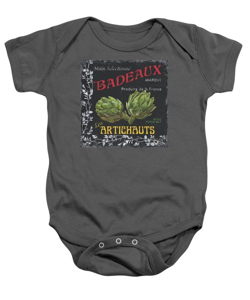 French Veggie Labels 1 Baby Onesie by Debbie DeWitt
