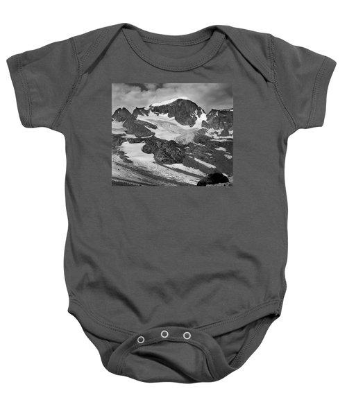 509427-bw-gannett Peak And Gooseneck Glacier, Wind Rivers Baby Onesie