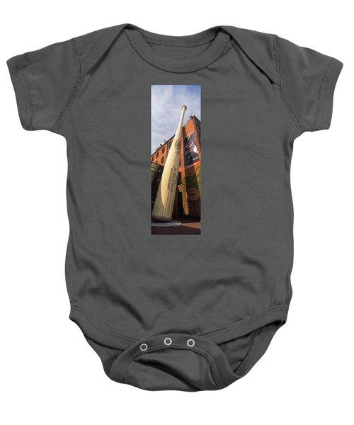 Giant Baseball Bat Adorns Baby Onesie