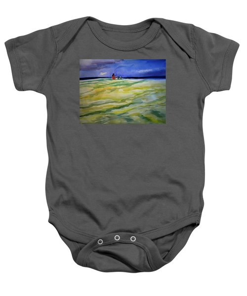 Girl With Dog On The Beach Baby Onesie