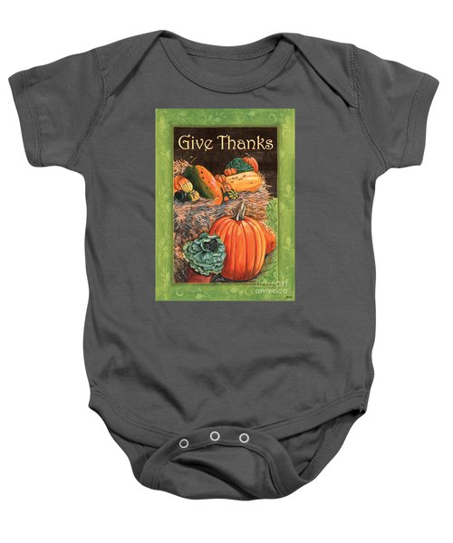 Give Thanks Baby Onesie by Debbie DeWitt