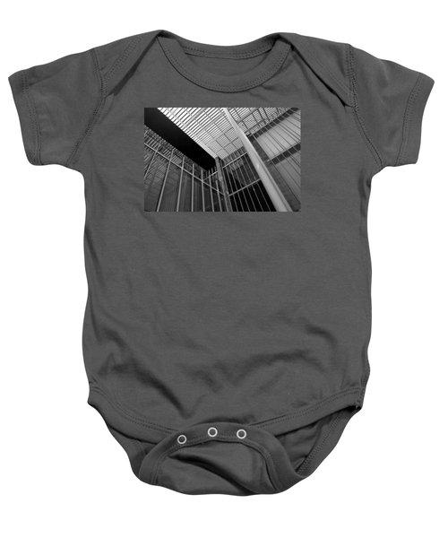 Glass Steel Architecture Lines Black White Baby Onesie