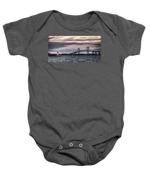 Goat Island Lighthouse And Newport Bridge Baby Onesie
