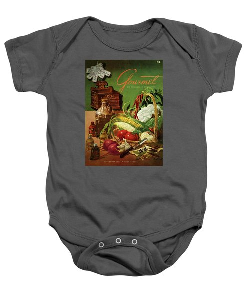 Gourmet Cover Featuring A Variety Of Vegetables Baby Onesie