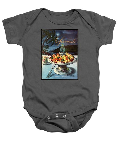 Gourmet Cover Illustration Of Fruit Dish Baby Onesie