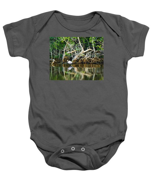 Great White Egret And Reflection In Swamp Mangroves Baby Onesie