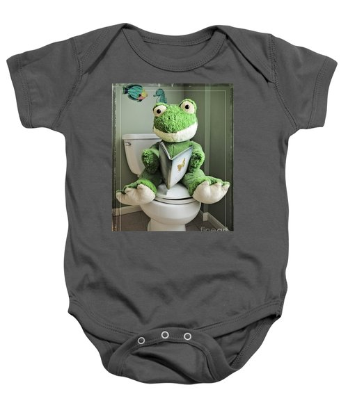 Green Frog Potty Training - Photo Art Baby Onesie