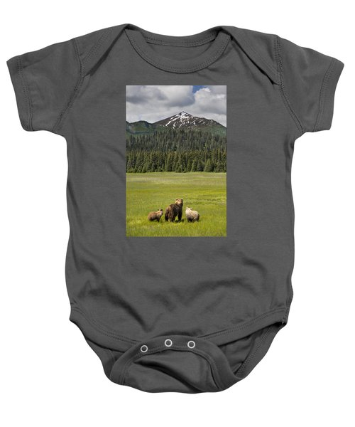 Grizzly Bear Mother And Cubs In Meadow Baby Onesie