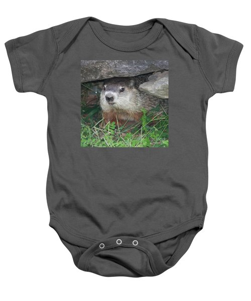 Groundhog Hiding In His Cave Baby Onesie