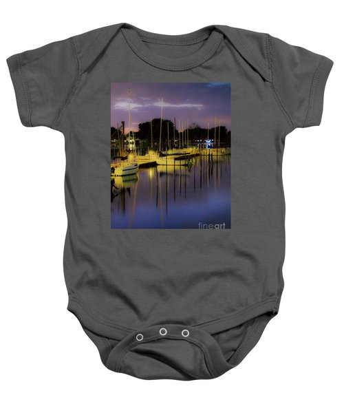 Harbor At Night Baby Onesie