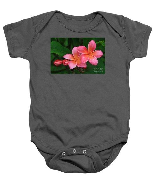 He Pua Laha Ole Hau Oli Hau Oli Oli Pua Melia Hae Maui Hawaii Tropical Plumeria Baby Onesie