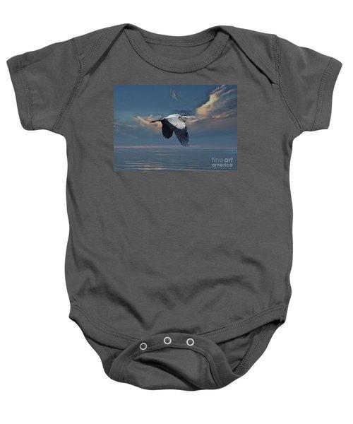 Heron Night Flight  Baby Onesie