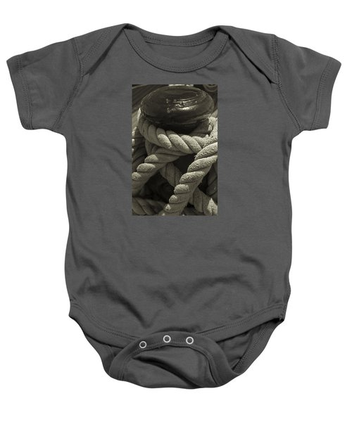 Hold On Black And White Sepia Baby Onesie