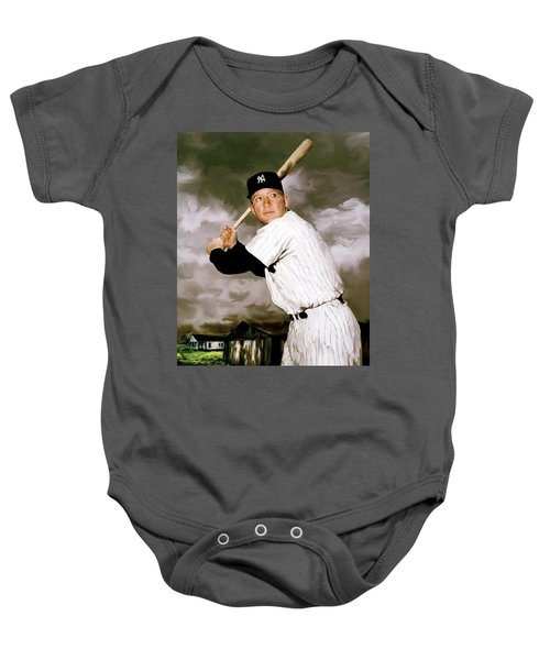 American Fabric   Mickey Mantle Baby Onesie by Iconic Images Art Gallery David Pucciarelli