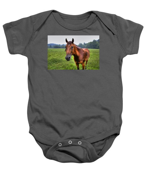 Baby Onesie featuring the photograph Horse In A Field by Jonny D