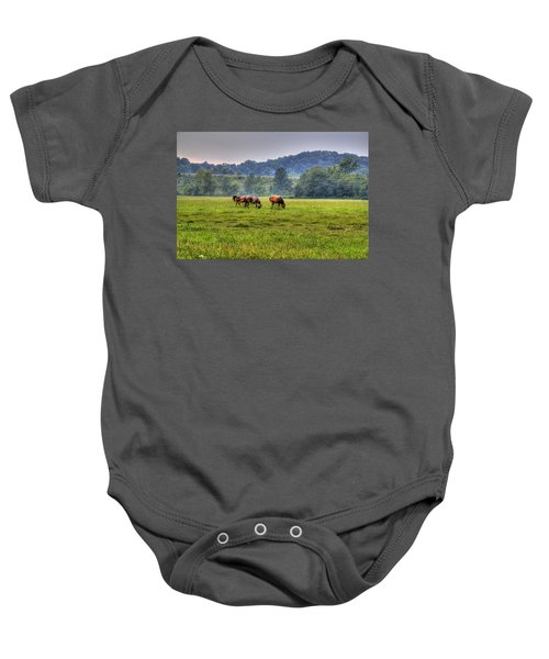 Baby Onesie featuring the photograph Horses In A Field 2 by Jonny D
