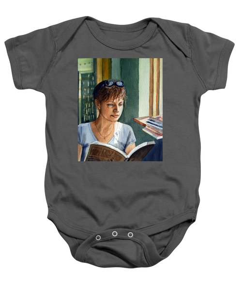 Baby Onesie featuring the painting In The Book Store by Irina Sztukowski