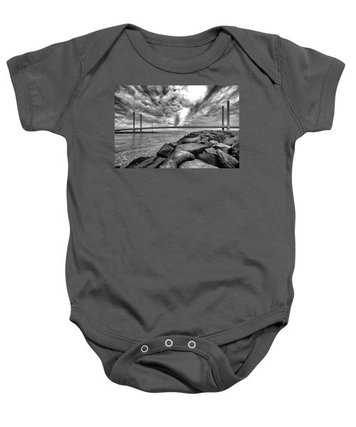Indian River Bridge Clouds Black And White Baby Onesie