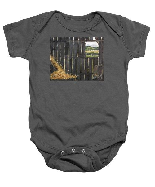 Barn -inside Looking Out - Summer Baby Onesie