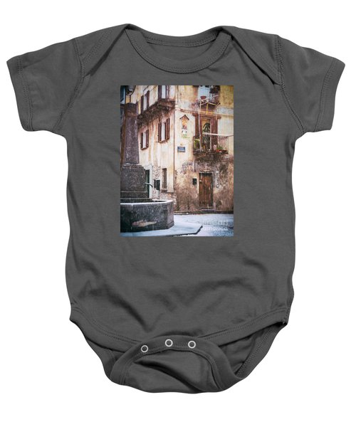 Baby Onesie featuring the photograph Italian Square In  Snow by Silvia Ganora
