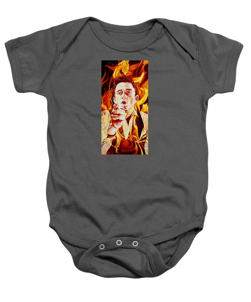 Johnny Cash And It Burns Baby Onesie by Joshua Morton